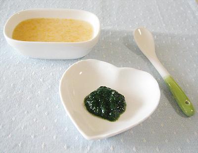【離乳食初期】野菜のミルクがゆ/ほうれん草のペースト