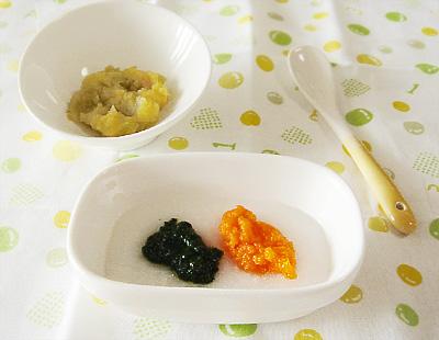 【離乳食初期】二色がゆ(ほうれん草・ニンジン)/サツマイモのリンゴ和え