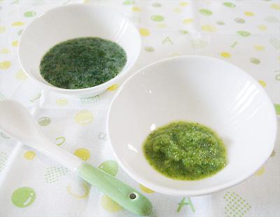 【離乳食初期】ほうれん草がゆ/ブロッコリーのペースト