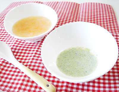 【離乳食初期】ジャガイモとニンジンの和風がゆ/ブロッコリーのポタージュ