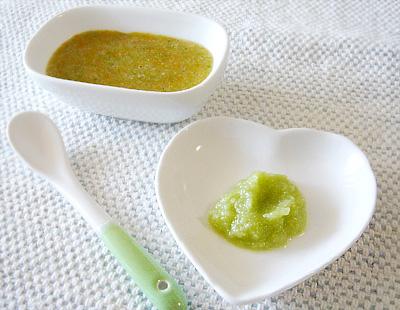 【離乳食初期】ニンジンとブロッコリーの野菜スープがゆ/キャベツのペースト