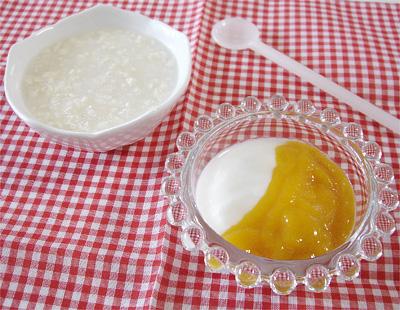 【離乳食初期】豆腐がゆ/フルーツヨーグルト