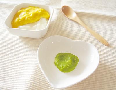 【離乳食初期】カボチャクリームうどん/グリーンピースのペースト