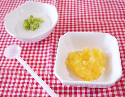 【離乳食初期】グリーンピースがゆ/サツマイモのオレンジ煮