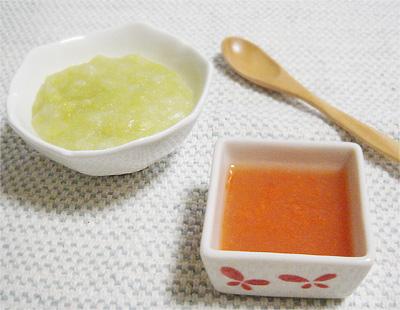 【離乳食中期】キャベツとサツマイモのおかゆ/野菜のスープ煮