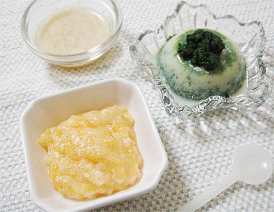 【離乳食中期】みぞれうどん/キャベツとトマトのポタージュスープ/ほうれん草プリン