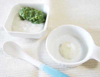 【離乳食中期】鯛と青菜のおかゆ/カブのペースト