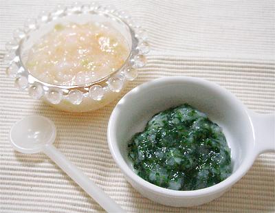 【離乳食中期】ナスとトマトの洋風がゆ/小松菜のみぞれ煮