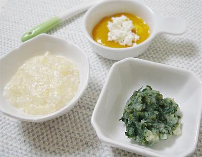 【離乳食中期】白菜入り豆腐がゆ/和風グリーンポテト/カッテージチーズのフルーツ添え