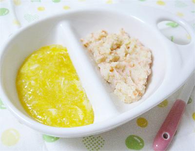【離乳食中期】カボチャのチーズリゾット/野菜サラダ