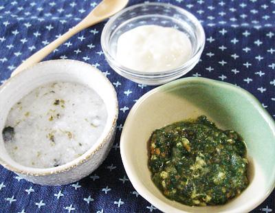 【離乳食中期】のりのおかゆ/鯛の五目煮/バナナヨーグルト