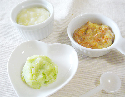 【離乳食中期】大根とサツマイモのクリームがゆ/グリーンピースのポテトサラダ/バナナキャロット