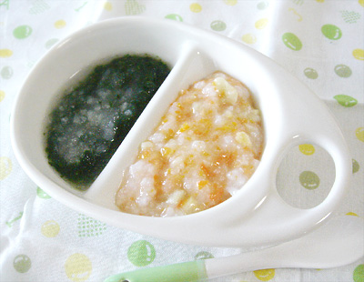 【離乳食中期】ニンジンとお麩のおかゆ/青菜のおろし煮