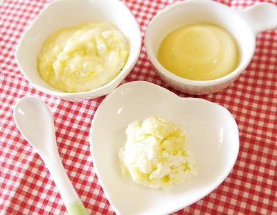 【離乳食中期】卵としらすのおかゆ/ポテトチーズサラダ/フルーツプリン