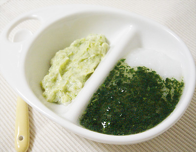 【離乳食中期】チンゲン菜のあんかけがゆ/スイートポテトサラダ
