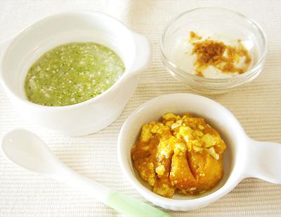 【離乳食中期】鶏ささ身とブロッコリーのスープがゆ/カボチャの豆腐茶巾/きな粉ヨーグルト