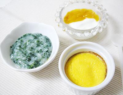 【離乳食中期】大根と小松菜のおかゆ/卵とポテトのココット/フルーツヨーグルト