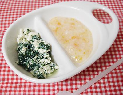 【離乳食中期】白菜とニンジンのおかゆ/青菜としらすのフワフワ豆腐