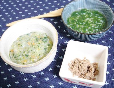 【離乳食中期】五目がゆ/しらすとチンゲン菜のスープ/レバーペースト