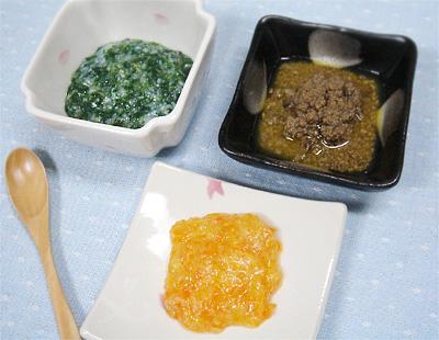 【離乳食中期】青菜としらすのおかゆ/白菜とニンジンのあんかけ/オレンジレバーペースト