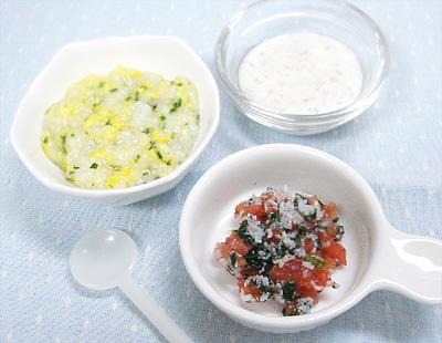 【離乳食中期】ほうれん草と卵のおかゆ/小松菜としらすのトマト和え/レバーヨーグルト