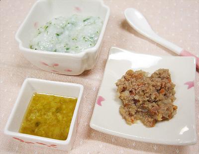 【離乳食中期】カブとチンゲン菜のおかゆ/レバーと野菜のトマト煮/キュウリのピーチ煮