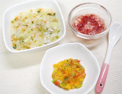 【離乳食中期】白身魚と白菜のおかゆ/ピーマンのクリーム和え/ストロベリーピーチ