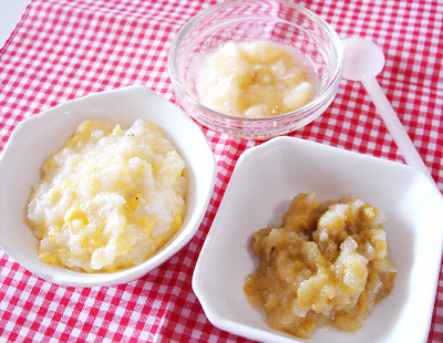 【離乳食中期】卵としらすのおかゆ/レバーと野菜のおろし煮/バナナアップル