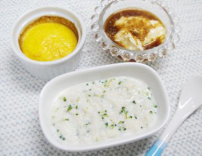 【離乳食中期】鶏ささ身とブロッコリーのミルクパンがゆ/卵とポテトのココット/プルーンきな粉ヨーグルト