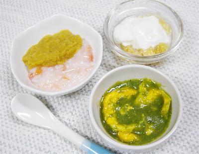 【離乳食中期】レバーと野菜のトマトがゆ/青菜の卵とじ/バナナヨーグルト