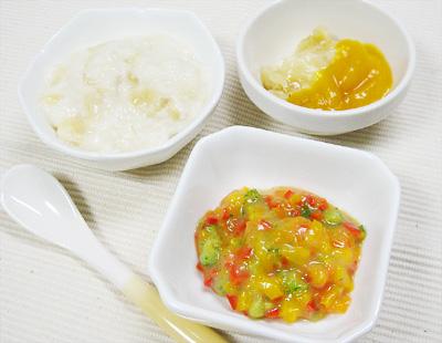 【離乳食中期】トロトロバナナのパンがゆ/ピーマンのクリーム和え/フルーツバナナ