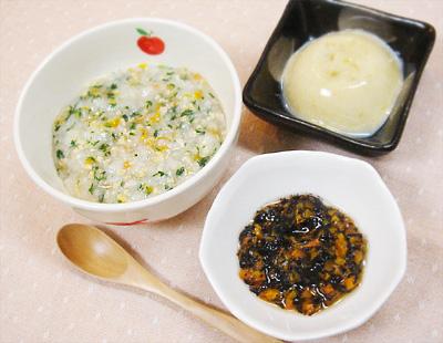 【離乳食中期】和風野菜の納豆がゆ/ひじきとニンジンの煮物/レバープリン
