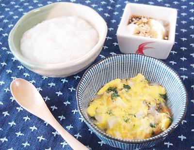 【離乳食中期】マグロのおかゆ/お麩と野菜の卵とじ/プルーンきな粉ヨーグルト