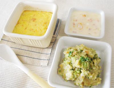 【離乳食中期】卵黄パンプディング/レバーポテトサラダ/パプリカのフルーツヨーグルト和え