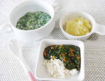 【離乳食中期】水菜のスープがゆ/鯛の野菜あんかけ/ジャガイモのフルーツ煮