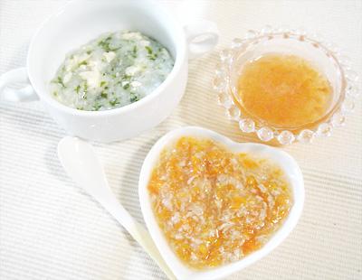 【離乳食中期】しらすとワカメの豆腐がゆ/マグロのみぞれ煮/アップルトマト