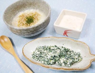 【離乳食中期】ベビーせんべいの小魚がゆ/青菜のチーズ和え/トマトヨーグルト