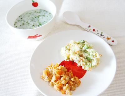 【離乳食中期】鯛と水菜のおかゆ/里芋とニンジンのきな粉和え/野菜サラダ