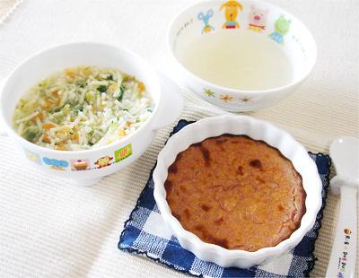 【離乳食中期】具だくさんスープパスタ/紫いもとリンゴのココット/オニオンチーズスープ
