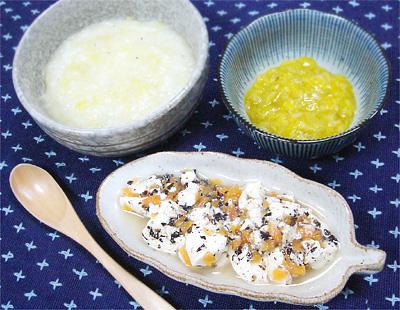 【離乳食中期】サツマイモとしらすの味噌汁がゆ/ひじきと豆腐の煮物/フルーツキャベツ