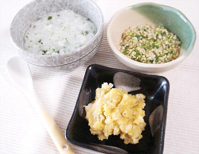 【離乳食中期】鯛と水菜のおかゆ/キャベツとレタスの納豆和え/レバー入りマッシュポテト