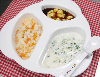 【離乳食中期】里芋とニンジンのトロトロうどん/鮭とチンゲン菜のミルク煮/プルーンバナナ