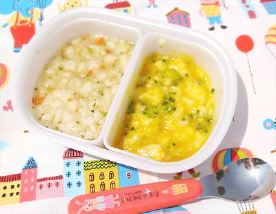 【離乳食中期(遠足メニュー)】小魚せんべいの五目がゆ/フルーツ和えブロッコリーバナナ