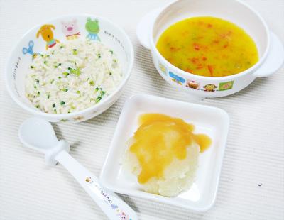 【離乳食中期】鮭とブロッコリーのクリームパスタ/緑黄色野菜のポタージュスープ/アップルキャロットポテト