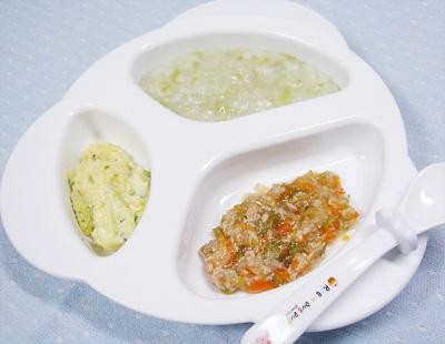【離乳食中期】そら豆のおかゆ/マグロと野菜の和風煮/スイートポテトサラダ
