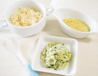 【離乳食中期】トマトとチキンのクリームパスタ/そら豆サラダ/野菜のコーンポタージュ