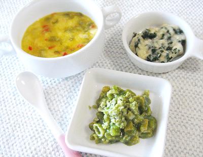 【離乳食中期】カボチャポタージュパンがゆ/グリーンマカロニサラダ/ほうれん草のバナナ和え