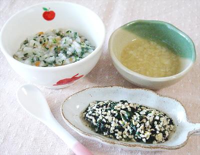 【離乳食中期】野菜とキノコの雑炊/ひじきと納豆の和え物/大根の味噌汁