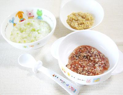 【離乳食中期】枝豆のおかゆ/マグロとキノコのトマト煮/大根と納豆の和え物