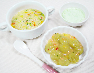 【離乳食中期】コーンクリームパスタ/ニョッキの鮭クリームソース/枝豆のポタージュ
